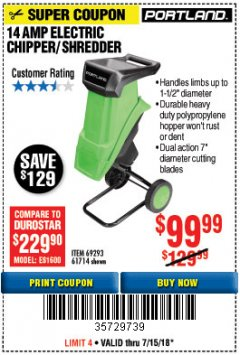 Harbor Freight Coupon 14 AMP ELECTRIC SHREDDER Lot No. 61714/69293 Expired: 7/15/18 - $99.99
