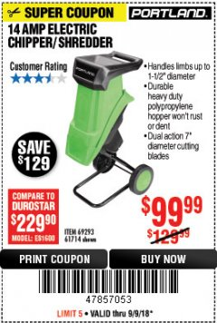 Harbor Freight Coupon 14 AMP ELECTRIC SHREDDER Lot No. 61714/69293 Expired: 9/9/18 - $99.99