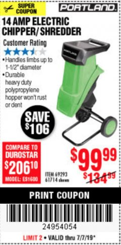 Harbor Freight Coupon 14 AMP ELECTRIC SHREDDER Lot No. 61714/69293 Expired: 7/7/19 - $99.99