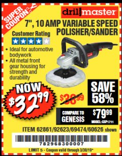 "Harbor Freight Coupon 7"" VARIABLE SPEED POLISHER/SANDER Lot No. 62861/92623/60626 Expired: 3/30/19 - $32.99"