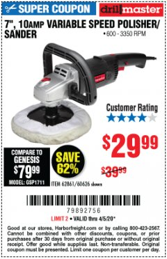 "Harbor Freight Coupon 7"" VARIABLE SPEED POLISHER/SANDER Lot No. 62861/92623/60626 EXPIRES: 6/30/20 - $29.99"