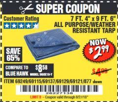 "Harbor Freight Coupon 7 FT. 4"" x 9 FT. 6"" ALL PURPOSE WEATHER RESISTANT TARP Lot No. 877/69115/69121/69129/69137/69249 Expired: 8/27/18 - $2.99"