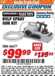 Harbor Freight ITC Coupon HVLP SPRAY GUN KIT Lot No. 44677 Expired: 5/31/18 - $99.99