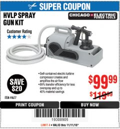 Harbor Freight Coupon HVLP SPRAY GUN KIT Lot No. 44677 Expired: 11/11/18 - $99.99