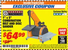 "Harbor Freight ITC Coupon 1"" X 5"" COMBINATION BELT AND DISC SANDER Lot No. 69033/34951 Expired: 7/31/18 - $64.99"