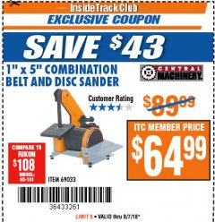 "Harbor Freight ITC Coupon 1"" X 5"" COMBINATION BELT AND DISC SANDER Lot No. 69033/34951 Expired: 8/7/18 - $64.99"