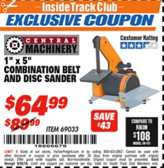 "Harbor Freight ITC Coupon 1"" X 5"" COMBINATION BELT AND DISC SANDER Lot No. 69033/34951 Expired: 9/30/18 - $64.99"