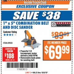 "Harbor Freight ITC Coupon 1"" X 5"" COMBINATION BELT AND DISC SANDER Lot No. 69033/34951 Expired: 10/9/18 - $69.99"