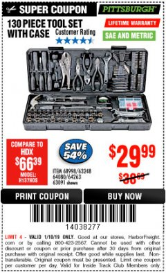 Harbor Freight ITC Coupon 130 PIECE TOOL KIT WITH CASE Lot No. 68998/69331/63091/63248/64263 Expired: 1/10/19 - $29.99