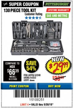 Harbor Freight Coupon 130 PIECE TOOL KIT WITH CASE Lot No. 68998/69331/63091/63248/64263 Expired: 9/30/18 - $29.99