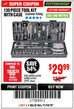 Harbor Freight Coupon 130 PIECE TOOL KIT WITH CASE Lot No. 68998/69331/63091/63248/64263 Expired: 11/18/18 - $29.99