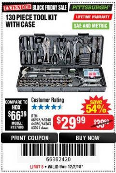 Harbor Freight Coupon 130 PIECE TOOL KIT WITH CASE Lot No. 68998/69331/63091/63248/64263 Expired: 12/2/18 - $29.99