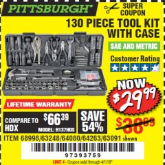 Harbor Freight Coupon 130 PIECE TOOL KIT WITH CASE Lot No. 68998/69331/63091/63248/64263 Expired: 4/1/19 - $29.99