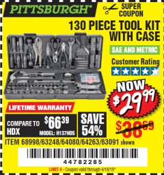Harbor Freight Coupon 130 PIECE TOOL KIT WITH CASE Lot No. 68998/69331/63091/63248/64263 Expired: 4/18/19 - $29.99