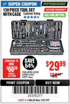 Harbor Freight Coupon 130 PIECE TOOL KIT WITH CASE Lot No. 68998/69331/63091/63248/64263 Expired: 1/27/19 - $29.99