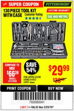 Harbor Freight Coupon 130 PIECE TOOL KIT WITH CASE Lot No. 68998/69331/63091/63248/64263 Expired: 2/24/19 - $29.99