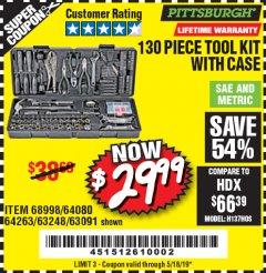 Harbor Freight Coupon 130 PIECE TOOL KIT WITH CASE Lot No. 68998/69331/63091/63248/64263 Valid Thru: 5/18/19 - $29.99