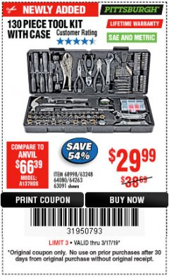 Harbor Freight Coupon 130 PIECE TOOL KIT WITH CASE Lot No. 68998/69331/63091/63248/64263 Expired: 3/17/19 - $29.99