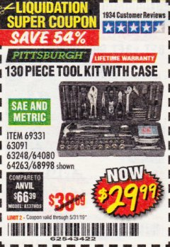 Harbor Freight Coupon 130 PIECE TOOL KIT WITH CASE Lot No. 68998/69331/63091/63248/64263 Valid Thru: 5/31/19 - $29.99