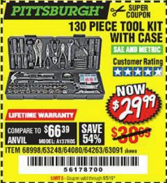 Harbor Freight Coupon 130 PIECE TOOL KIT WITH CASE Lot No. 68998/69331/63091/63248/64263 Valid Thru: 8/5/19 - $29.99