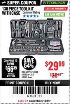 Harbor Freight Coupon 130 PIECE TOOL KIT WITH CASE Lot No. 68998/69331/63091/63248/64263 Expired: 5/12/19 - $29.99