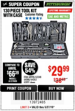 Harbor Freight Coupon 130 PIECE TOOL KIT WITH CASE Lot No. 68998/69331/63091/63248/64263 Expired: 5/27/19 - $29.99