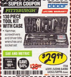 Harbor Freight Coupon 130 PIECE TOOL KIT WITH CASE Lot No. 68998/69331/63091/63248/64263 Expired: 6/30/19 - $29.99