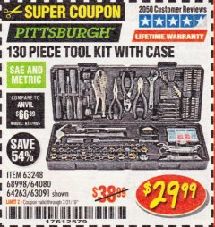 Harbor Freight Coupon 130 PIECE TOOL KIT WITH CASE Lot No. 68998/69331/63091/63248/64263 Expired: 7/31/19 - $29.99