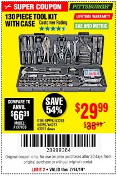 Harbor Freight Coupon 130 PIECE TOOL KIT WITH CASE Lot No. 68998/69331/63091/63248/64263 Expired: 7/14/19 - $29.99