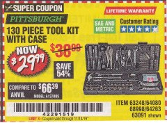 Harbor Freight Coupon 130 PIECE TOOL KIT WITH CASE Lot No. 68998/69331/63091/63248/64263 Valid Thru: 11/14/19 - $29.99