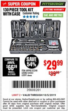 Harbor Freight Coupon 130 PIECE TOOL KIT WITH CASE Lot No. 68998/69331/63091/63248/64263 Valid Thru: 10/5/19 - $29.99