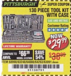 Harbor Freight Coupon 130 PIECE TOOL KIT WITH CASE Lot No. 68998/69331/63091/63248/64263 Valid Thru: 11/15/19 - $29.99