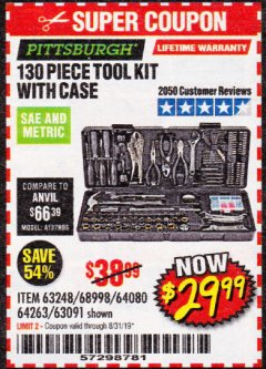Harbor Freight Coupon 130 PIECE TOOL KIT WITH CASE Lot No. 68998/69331/63091/63248/64263 Expired: 8/31/19 - $29.99