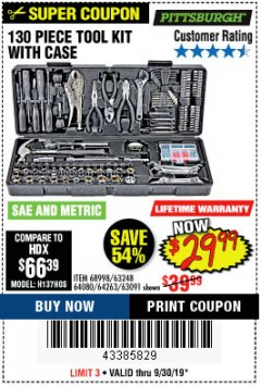 Harbor Freight Coupon 130 PIECE TOOL KIT WITH CASE Lot No. 68998/69331/63091/63248/64263 Valid Thru: 9/30/19 - $29.99