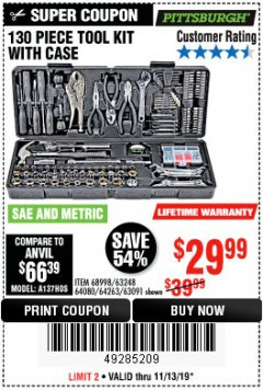 Harbor Freight Coupon 130 PIECE TOOL KIT WITH CASE Lot No. 68998/69331/63091/63248/64263 Valid Thru: 11/13/19 - $29.99
