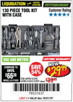 Harbor Freight Coupon 130 PIECE TOOL KIT WITH CASE Lot No. 68998/69331/63091/63248/64263 Valid Thru: 10/31/19 - $29.99