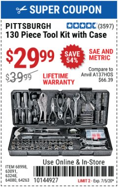 Harbor Freight Coupon 130 PIECE TOOL KIT WITH CASE Lot No. 68998/69331/63091/63248/64263 EXPIRES: 7/5/20 - $29.99