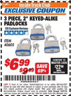 "Harbor Freight ITC Coupon 3 PIECE 2"" KEYED ALIKE PADLOCKS Lot No. 40605 Expired: 12/31/18 - $6.99"