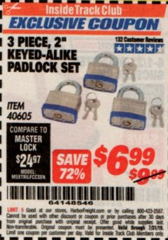 "Harbor Freight ITC Coupon 3 PIECE 2"" KEYED ALIKE PADLOCKS Lot No. 40605 Expired: 7/31/19 - $6.99"