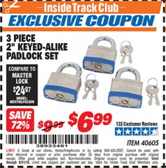 "Harbor Freight ITC Coupon 3 PIECE 2"" KEYED ALIKE PADLOCKS Lot No. 40605 Expired: 8/31/19 - $6.99"