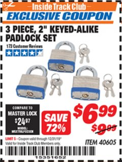 "Harbor Freight ITC Coupon 3 PIECE 2"" KEYED ALIKE PADLOCKS Lot No. 40605 Expired: 12/31/19 - $6.99"