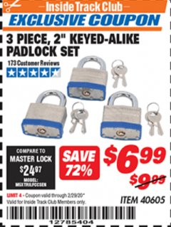 "Harbor Freight ITC Coupon 3 PIECE 2"" KEYED ALIKE PADLOCKS Lot No. 40605 Expired: 2/29/20 - $6.99"