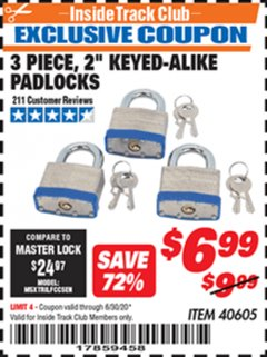 "Harbor Freight ITC Coupon 3 PIECE 2"" KEYED ALIKE PADLOCKS Lot No. 40605 Expired: 6/30/20 - $6.99"
