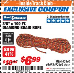 "Harbor Freight ITC Coupon 3/8"" X 100 FT DIAMOND BRAID ROPE Lot No. 61678/62865/92463 Expired: 1/31/20 - $6.99"