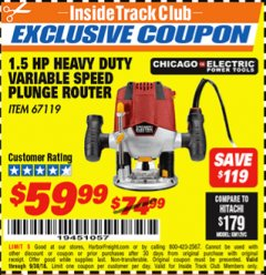 Harbor Freight ITC Coupon 1.5 HP HEAVY DUTY VARIABLE SPEED PLUNGE ROUTER Lot No. 67119 Expired: 9/30/18 - $59.99