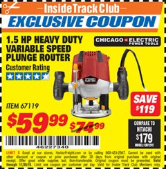 Harbor Freight ITC Coupon 1.5 HP HEAVY DUTY VARIABLE SPEED PLUNGE ROUTER Lot No. 67119 Expired: 11/30/18 - $59.99