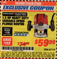 Harbor Freight ITC Coupon 1.5 HP HEAVY DUTY VARIABLE SPEED PLUNGE ROUTER Lot No. 67119 Expired: 7/31/19 - $59.99