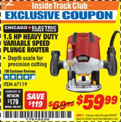 Harbor Freight ITC Coupon 1.5 HP HEAVY DUTY VARIABLE SPEED PLUNGE ROUTER Lot No. 67119 Valid Thru: 6/30/20 - $59.99