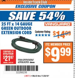 Harbor Freight ITC Coupon 25 FT. X 14 GAUGE GREEN OUTDOOR EXTENSION CORD Lot No. 60267/61862/62929/62930/62931/45283 Expired: 11/20/18 - $9.99