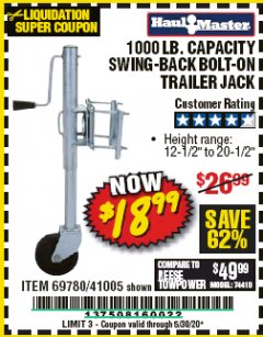 Harbor Freight Coupon 1000 LB. CAPACITY SWING-BACK TRAILER JACK Lot No. 41005/69780 EXPIRES: 6/30/20 - $18.99